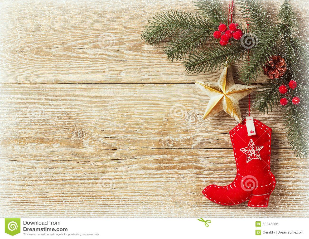 Christmas Background With Cowboy Shoe Decoration Stock