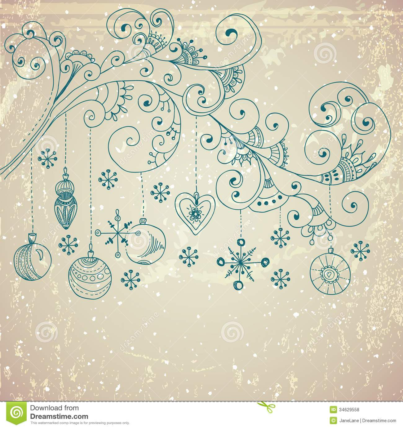 Christmas background with cute decorations and floral elements Royalty Free  Stock Photos. Christmas Background With Cute Decorations And Floral Elements