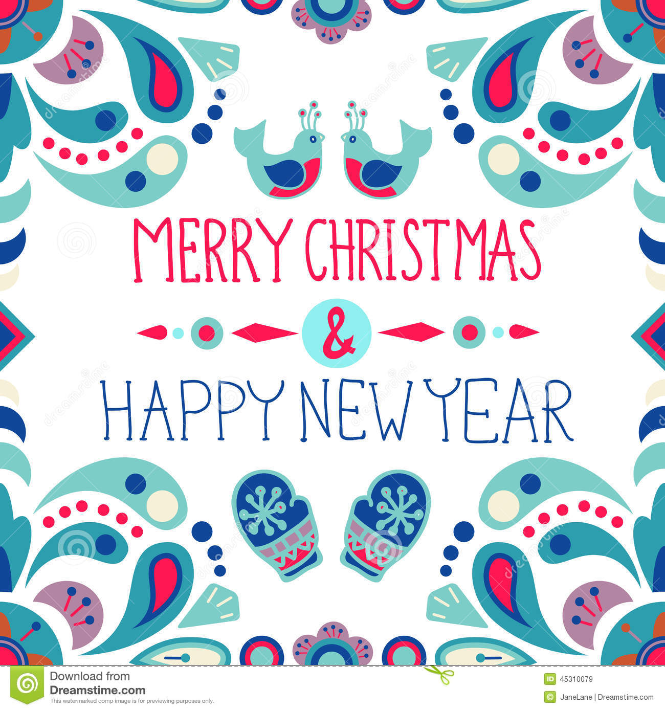 Christmas Background With Cute Floral Ornament And Hand ...