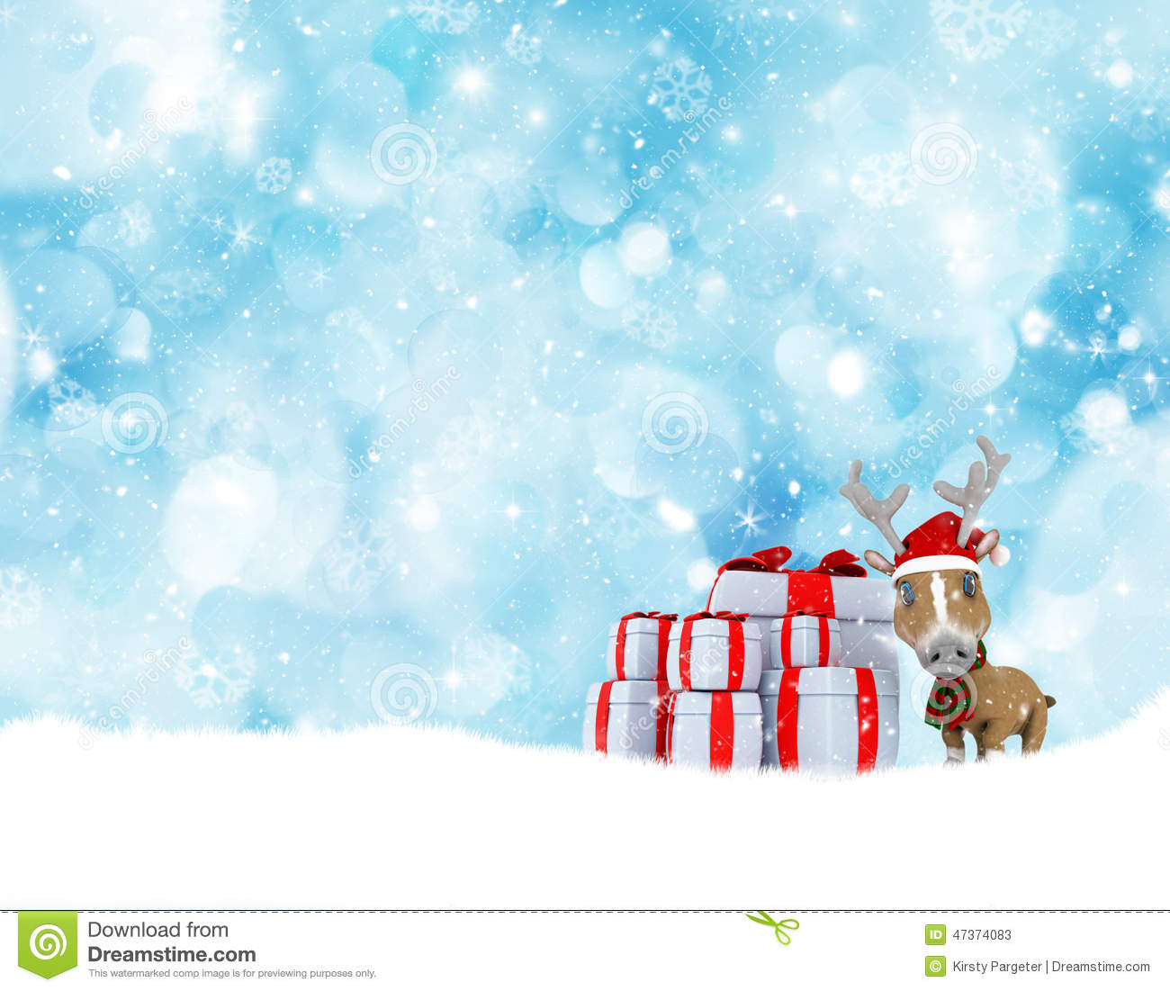 Christmas Background With Cute Reindeer