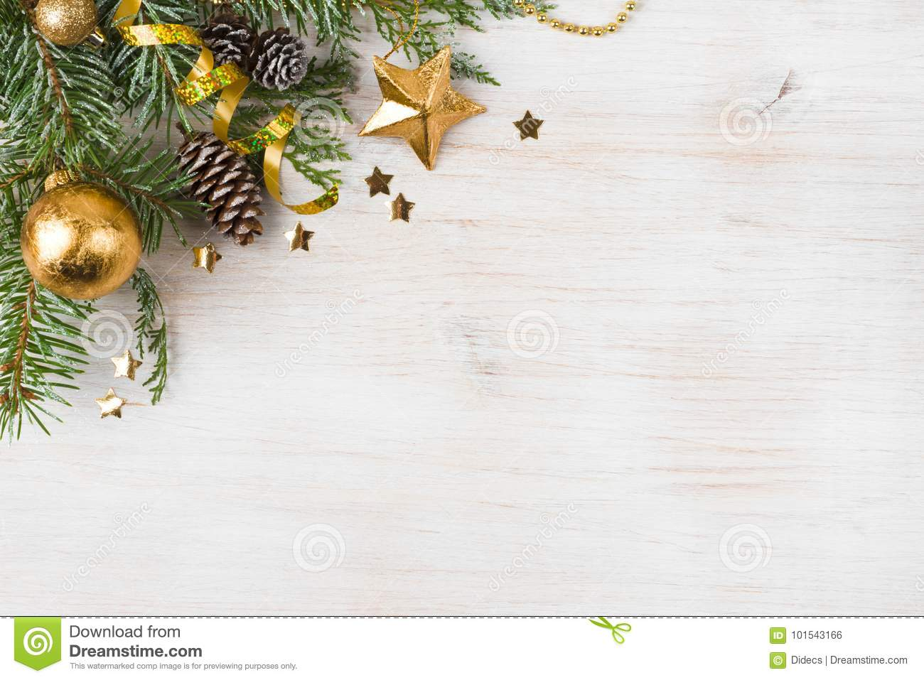 Christmas Background With Decorated Fir Tree, Copy Space On Side