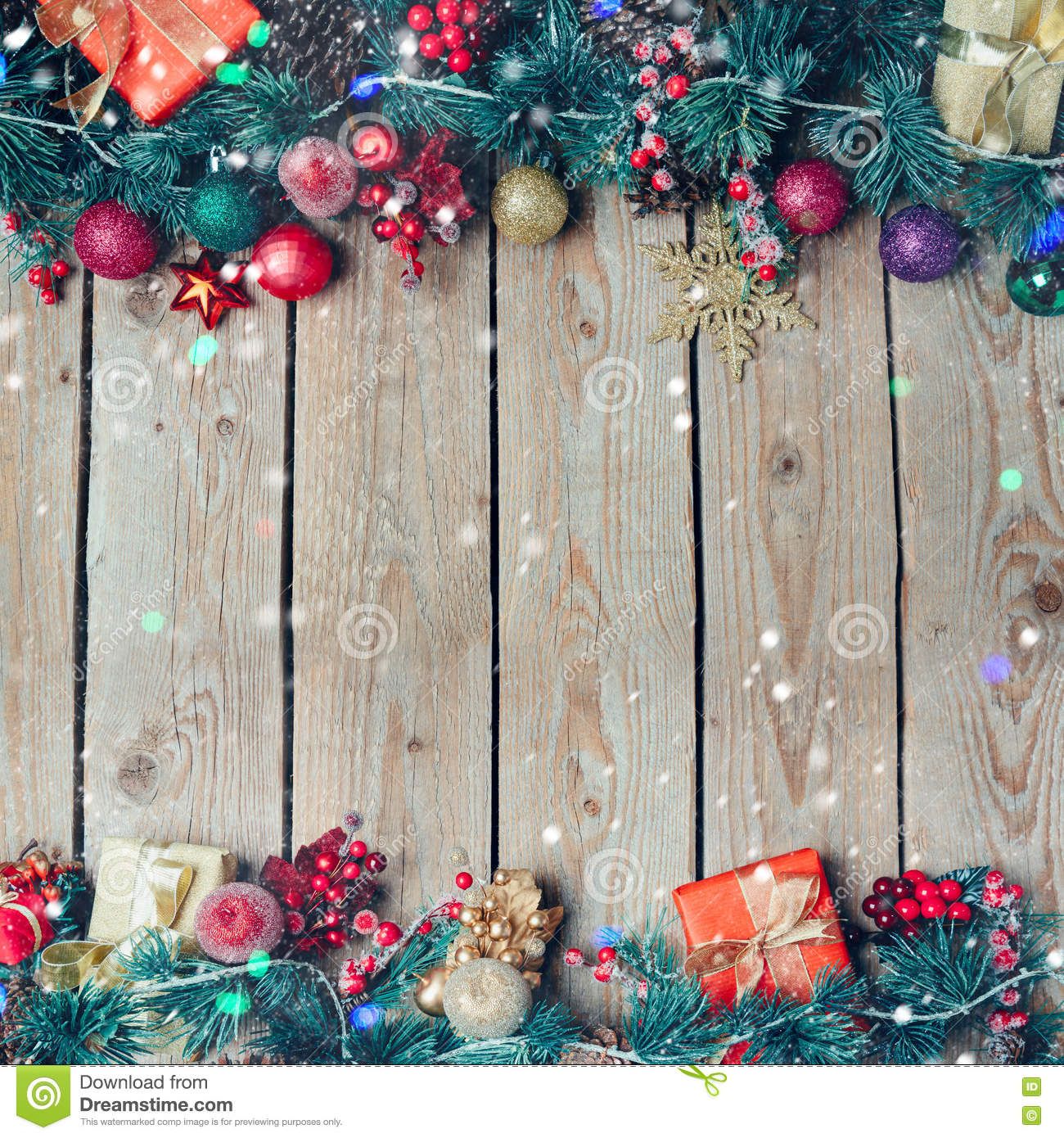 Christmas Background With Decoration On Wooden Board ...