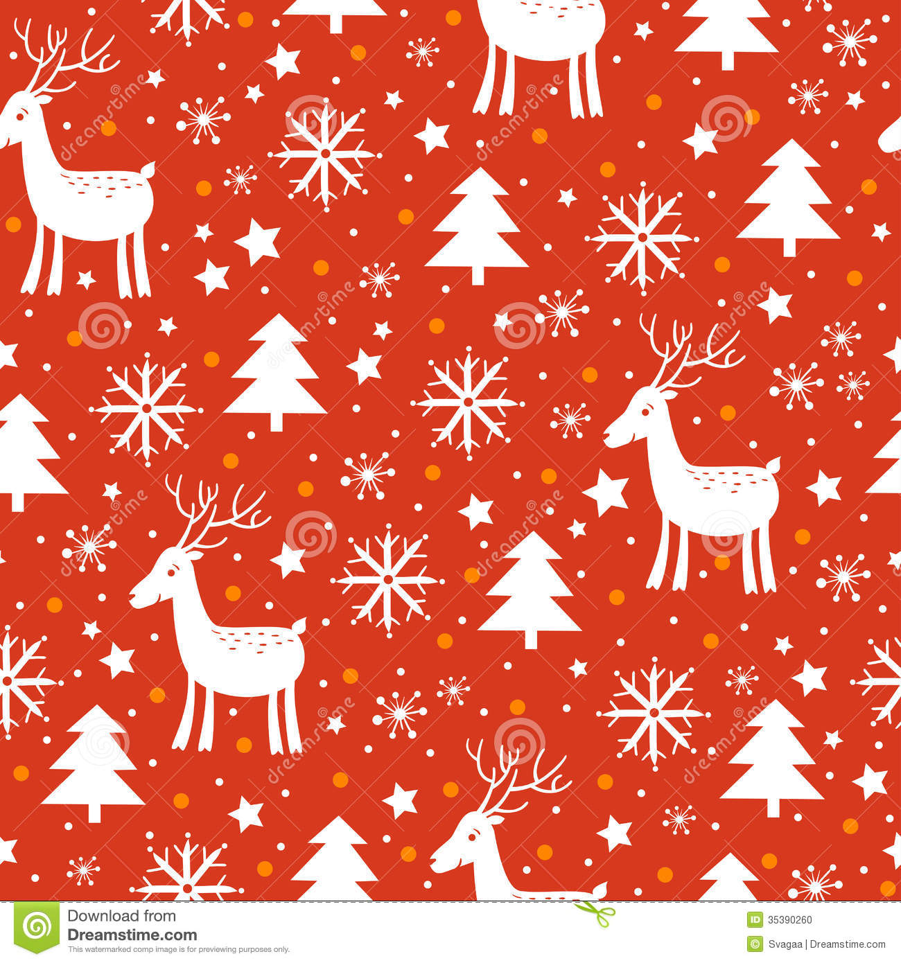 Christmas Background With Deer And Snowflakes Stock Photo - Image ...