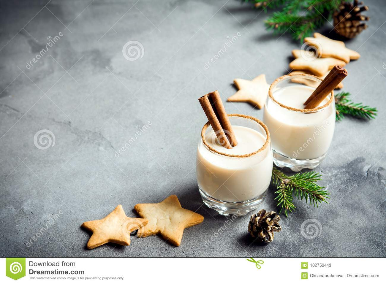 Christmas Background With Eggnog And Cookies Stock Image - Image of ...