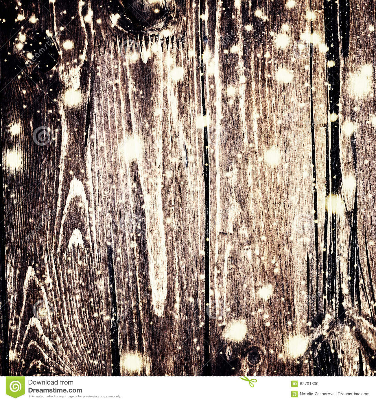 Christmas Background With Falling Snow And Xmas Lights On Dark ...