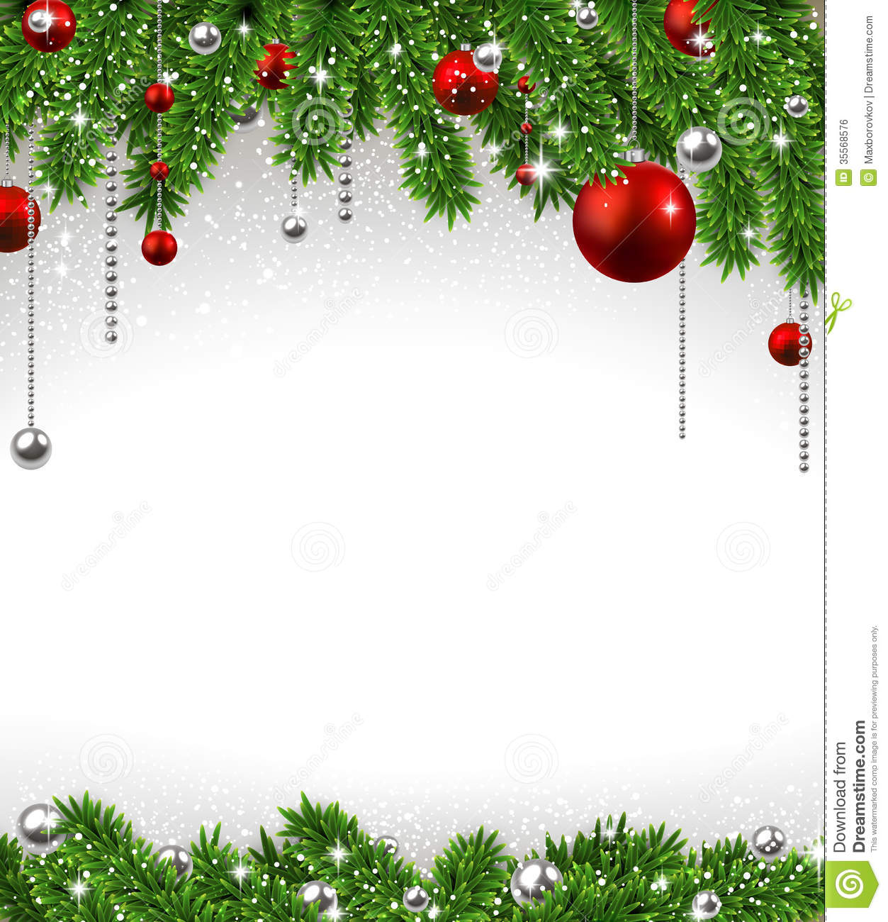 christmas background with fir branches and balls. stock vector