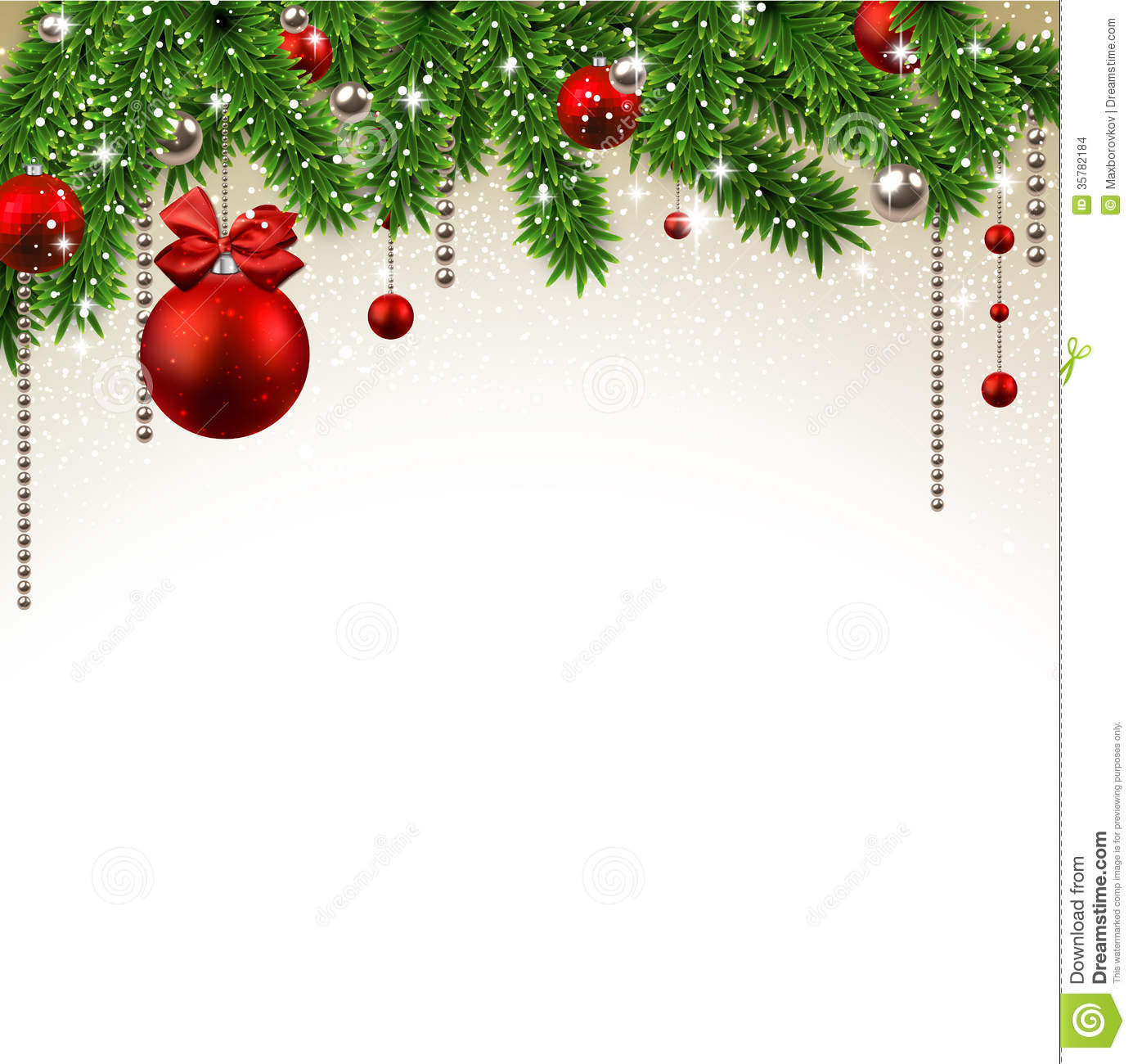 Christmas Decorations Background Pictures: Christmas Background With Fir Branches And Balls. Stock