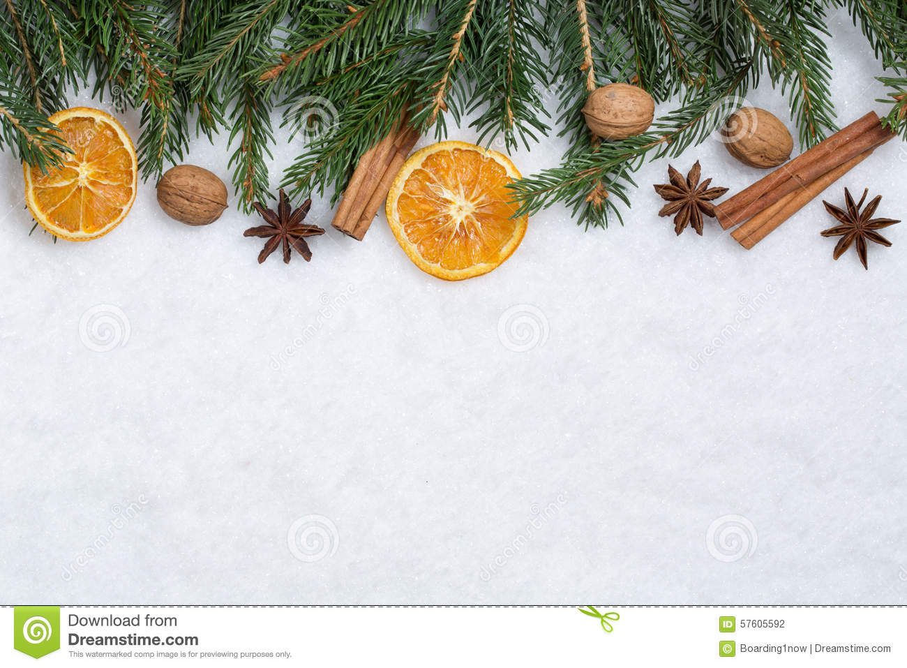 Christmas background with fir branches orange fruits and for Fruit orange decoration