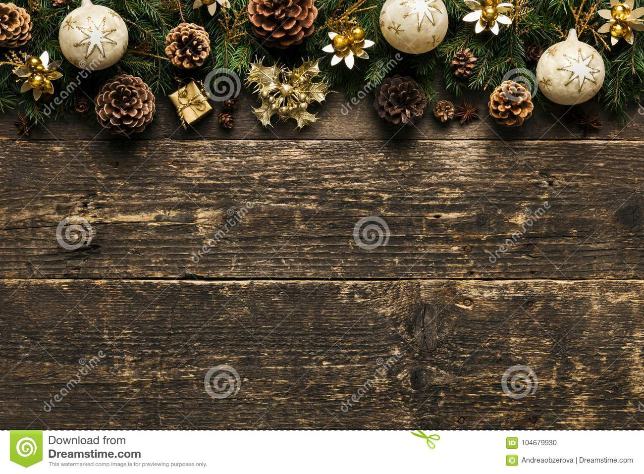 Christmas Background, Fir Tree Branches With Pine Cones, Xmas Baubles and Decorations On Wooden Background, Festive Concept