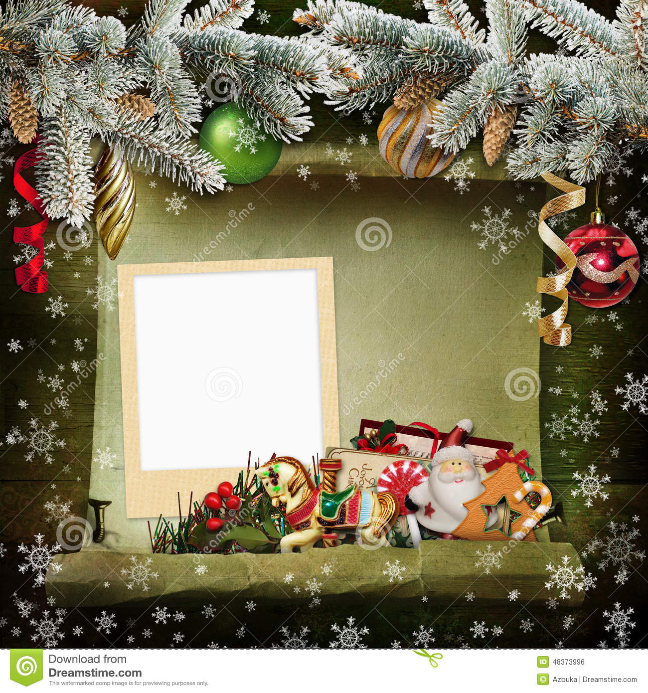 christmas background with frame and beautiful christmas decorations