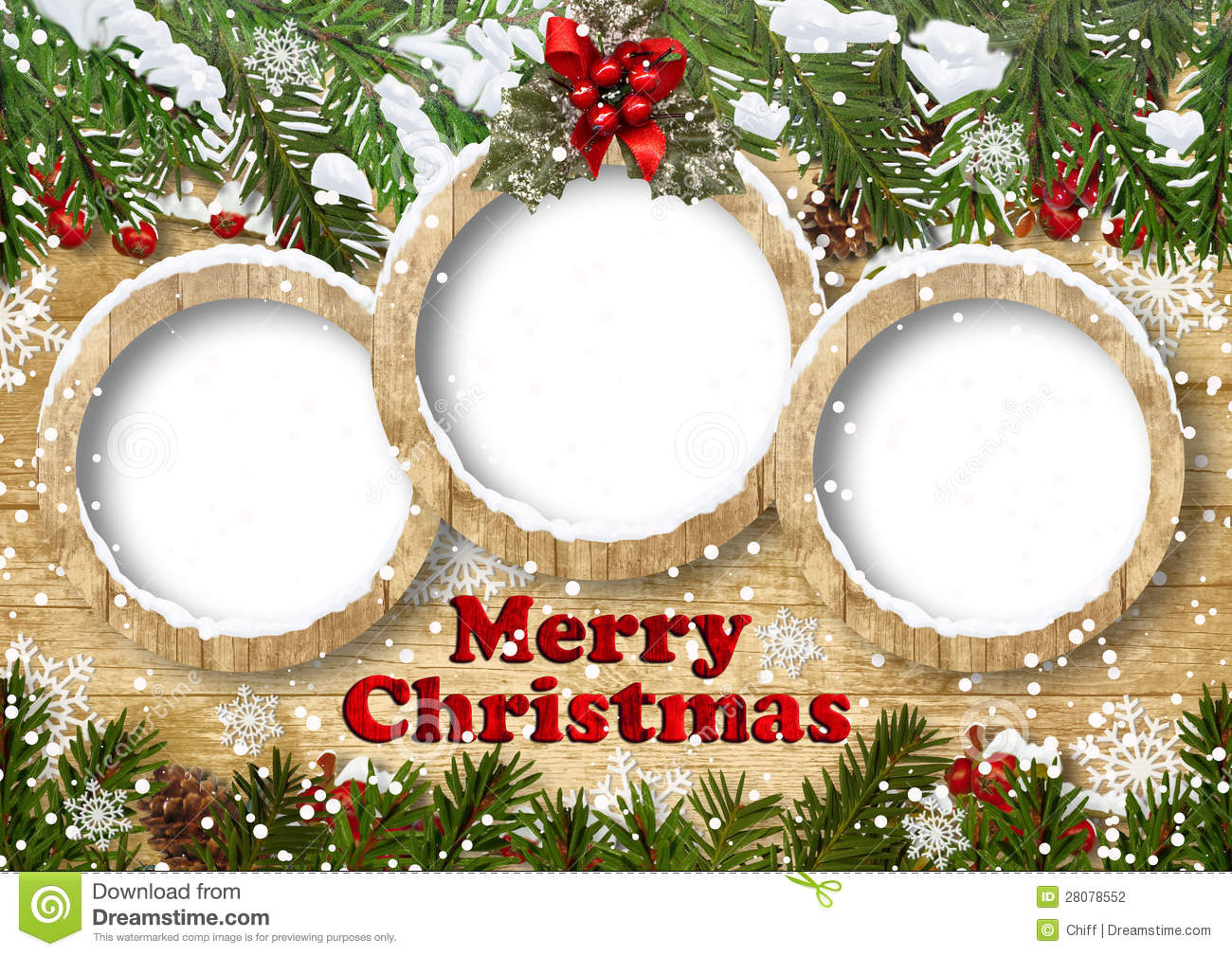 Christmas Background With Frame And Fir Twig Stock Photography - Image ...