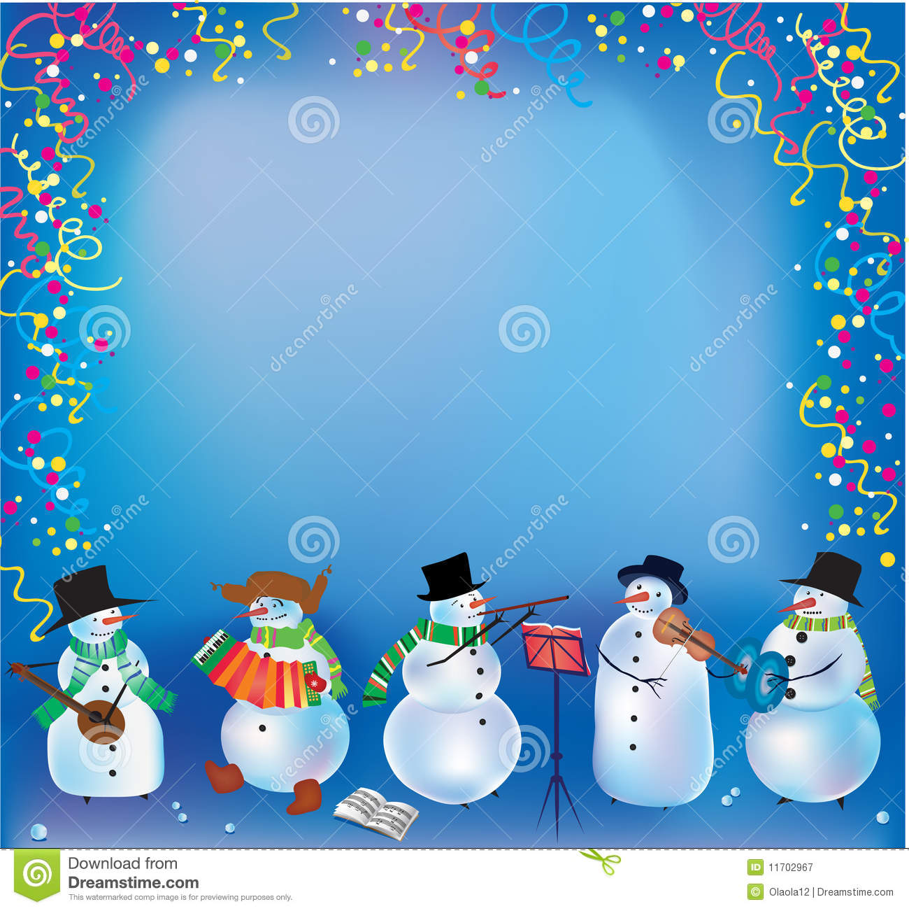 Christmas Background With Funny Snowmen Stock Vector - Illustration
