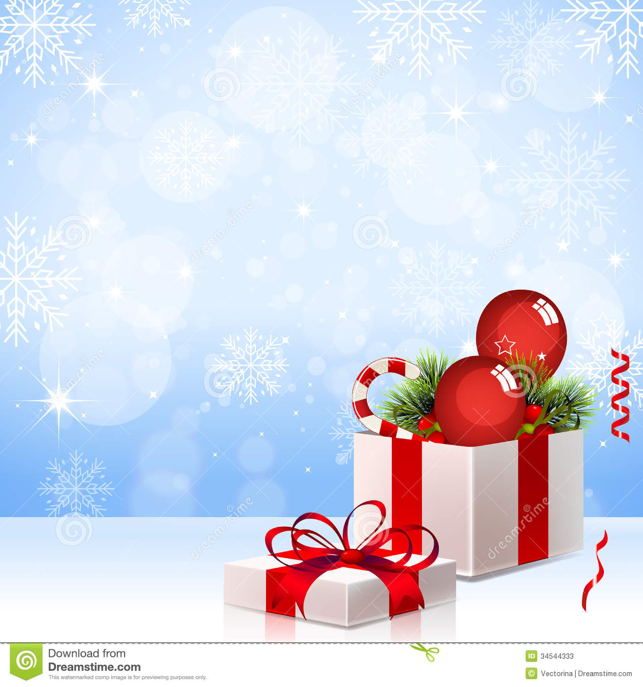 Christmas Gift Background: Christmas Background With Gift Box