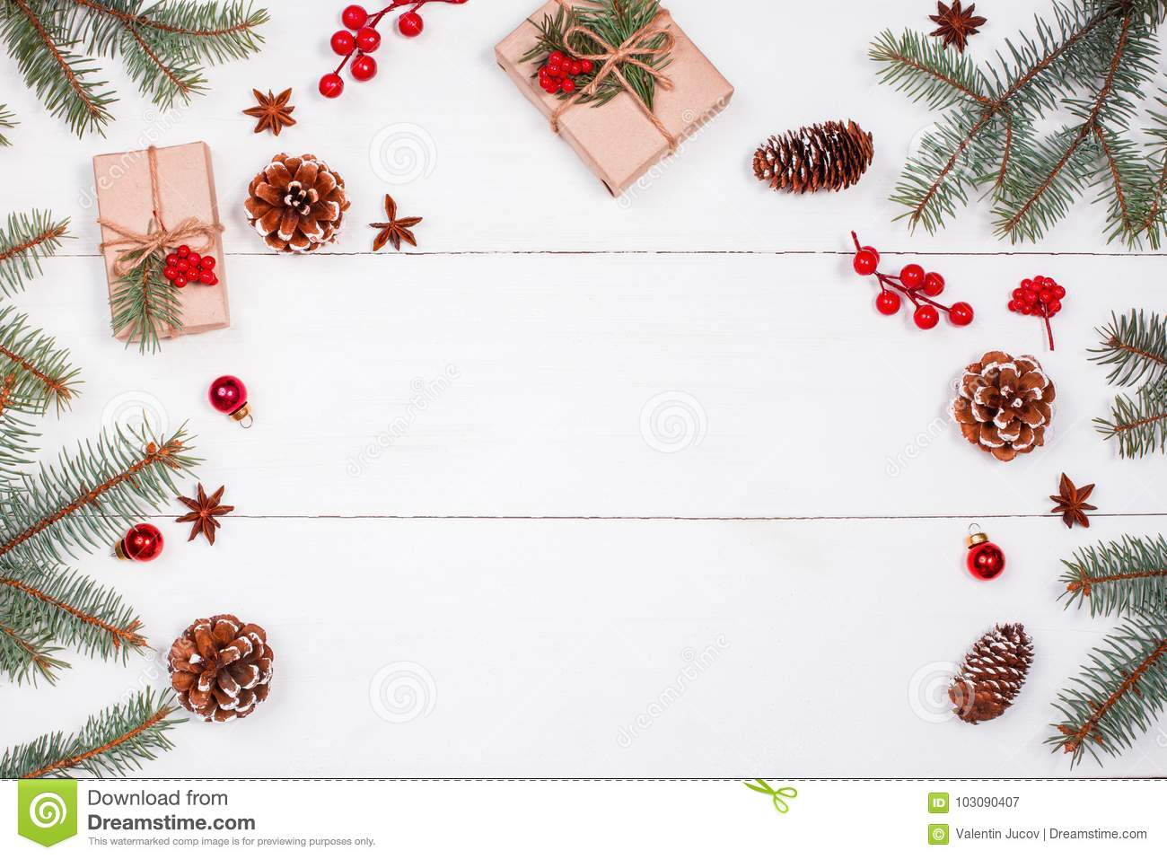 Download Christmas Background With Christmas Gift, Fir Branches, Pine Cones, Snowflakes, Red Decorations. Xmas And Happy New Year Stock Image - Image of noel, handmade: 103090407
