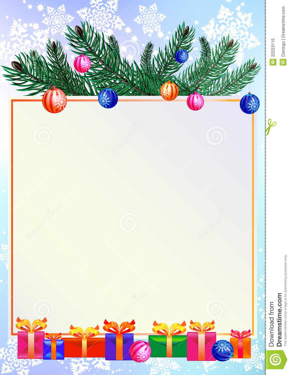 Christmas Background With Gifts And Branch Of Pine Stock