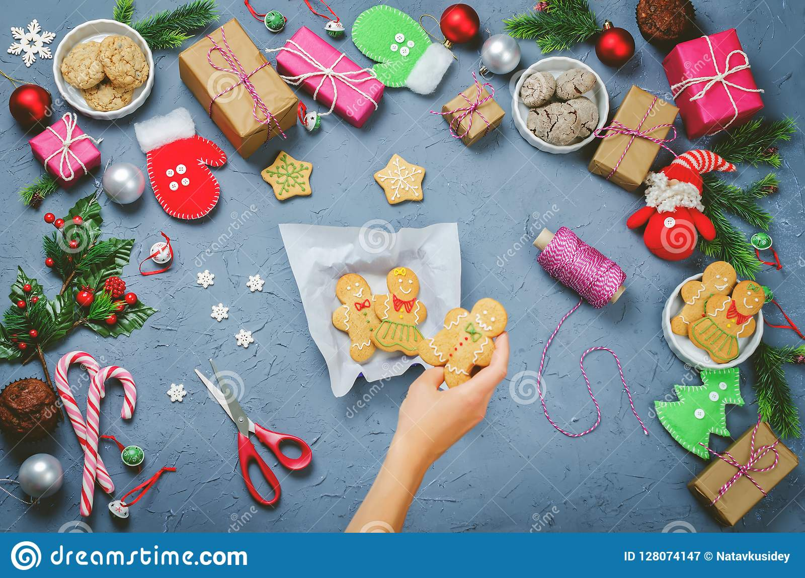 Christmas background with gifts, cookies, Christmas decoration a