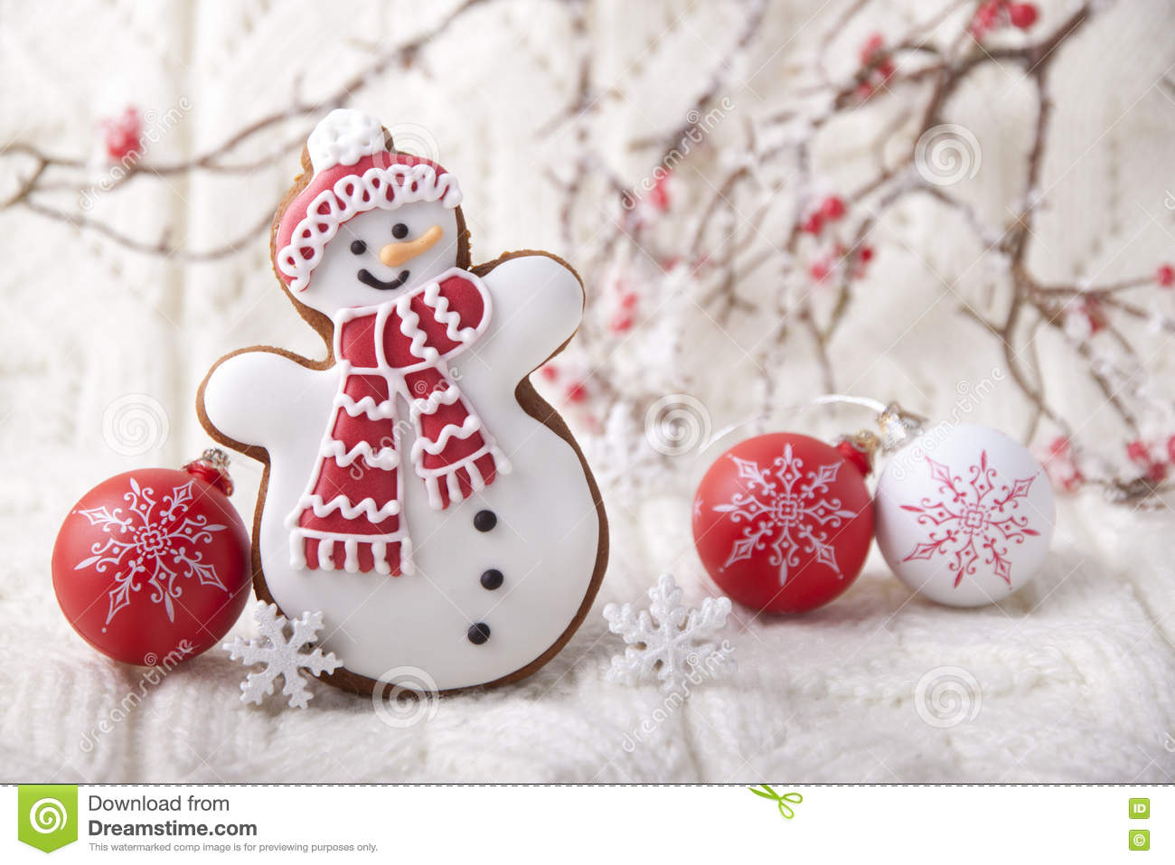Christmas background with gingerbread in the form a snowman
