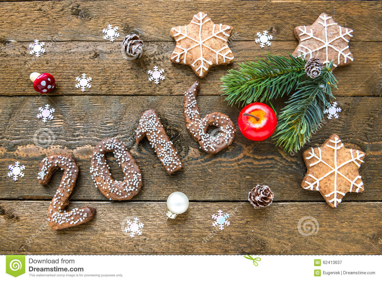 Christmas background with gingerbread numbers 2016 fir for Christmas decorations 2016