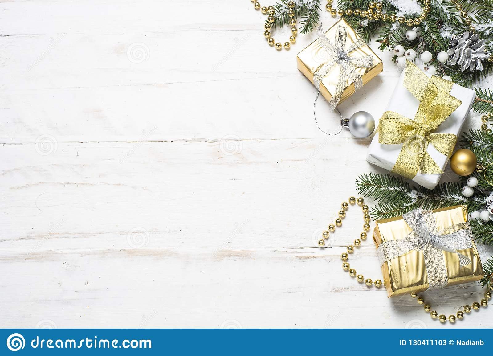 c242833867ae Christmas Background With Gold And Silver Decorations On White ...