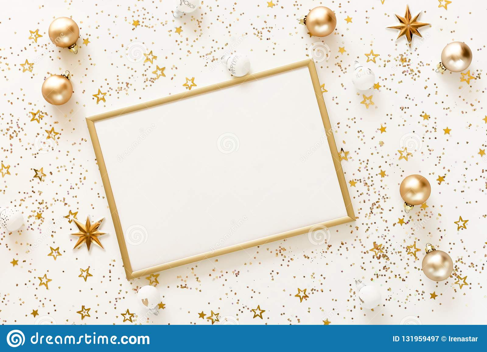 christmas background from gold and white christmas decorations on white table stock image image of merry frame 131959497 https www dreamstime com christmas background gold white decorations table xmas composition new year s balls winter holiday concept flat lay image131959497