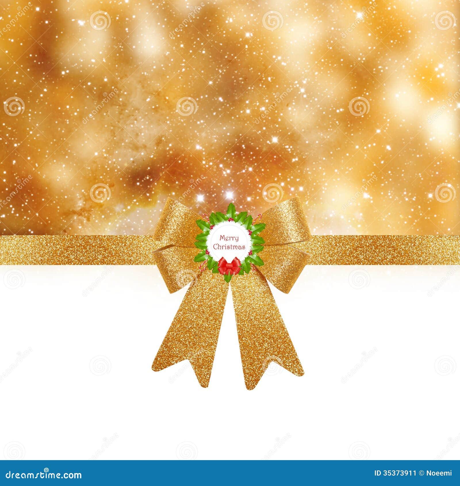 Christmas background - golden bow on shiny background