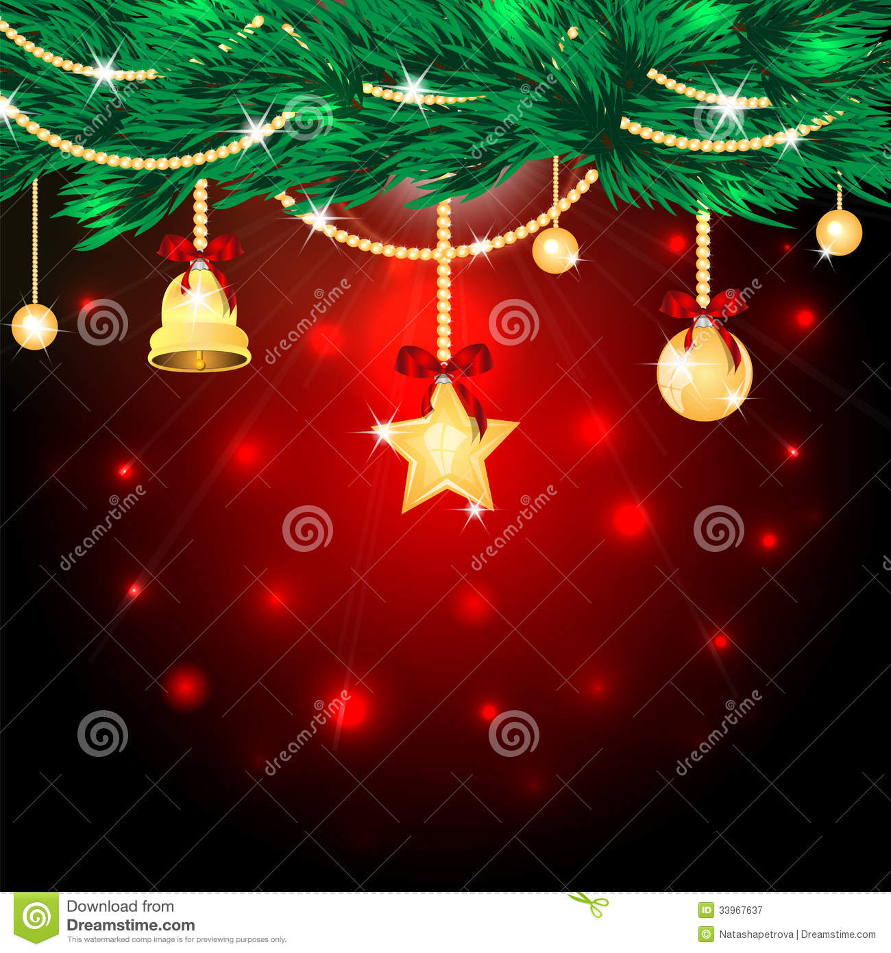 Tree decorations on a red background flickering gold christmas tree