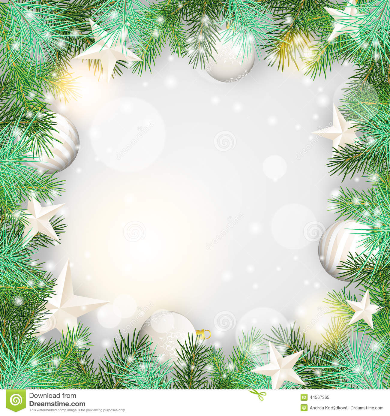 Christmas Background With Green Branches And White