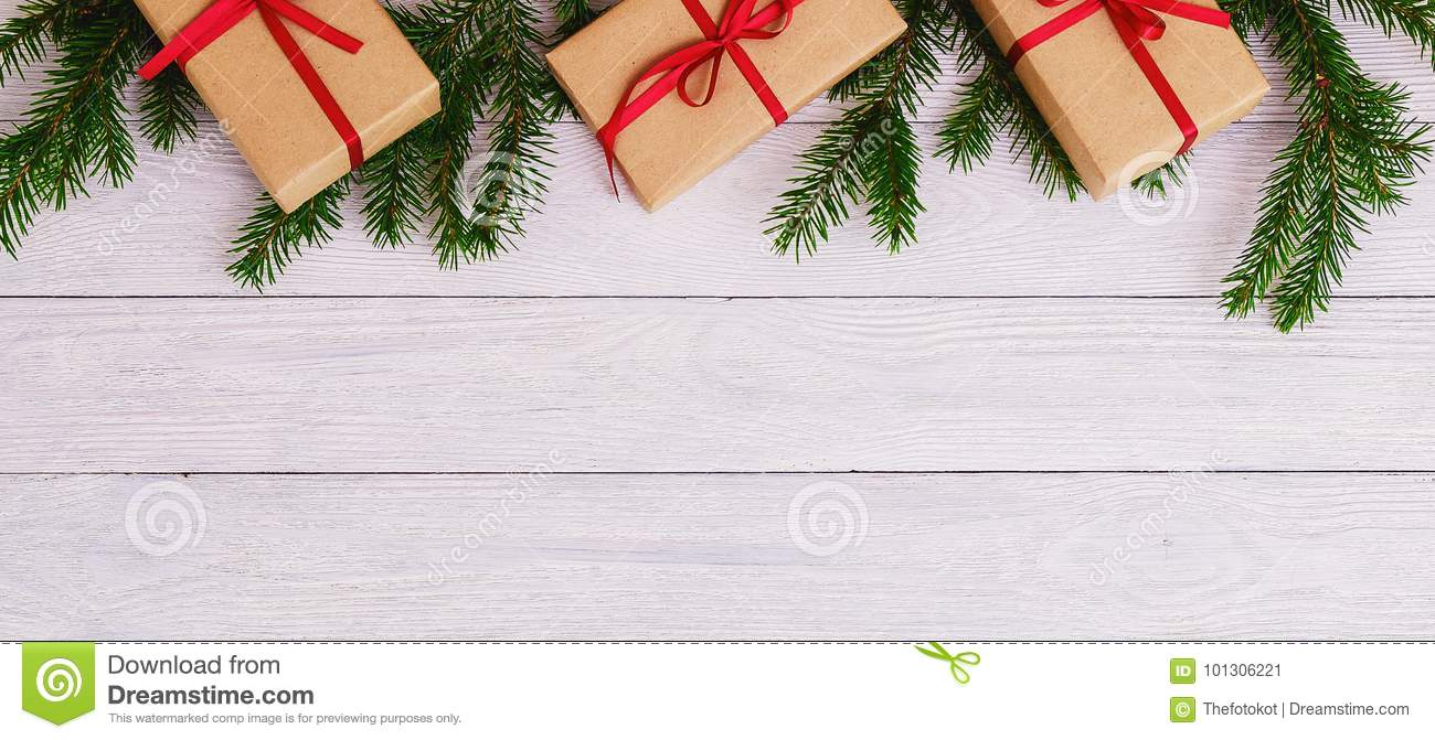 Christmas Background Green Decorative Fir Branches Presents Wooden Background
