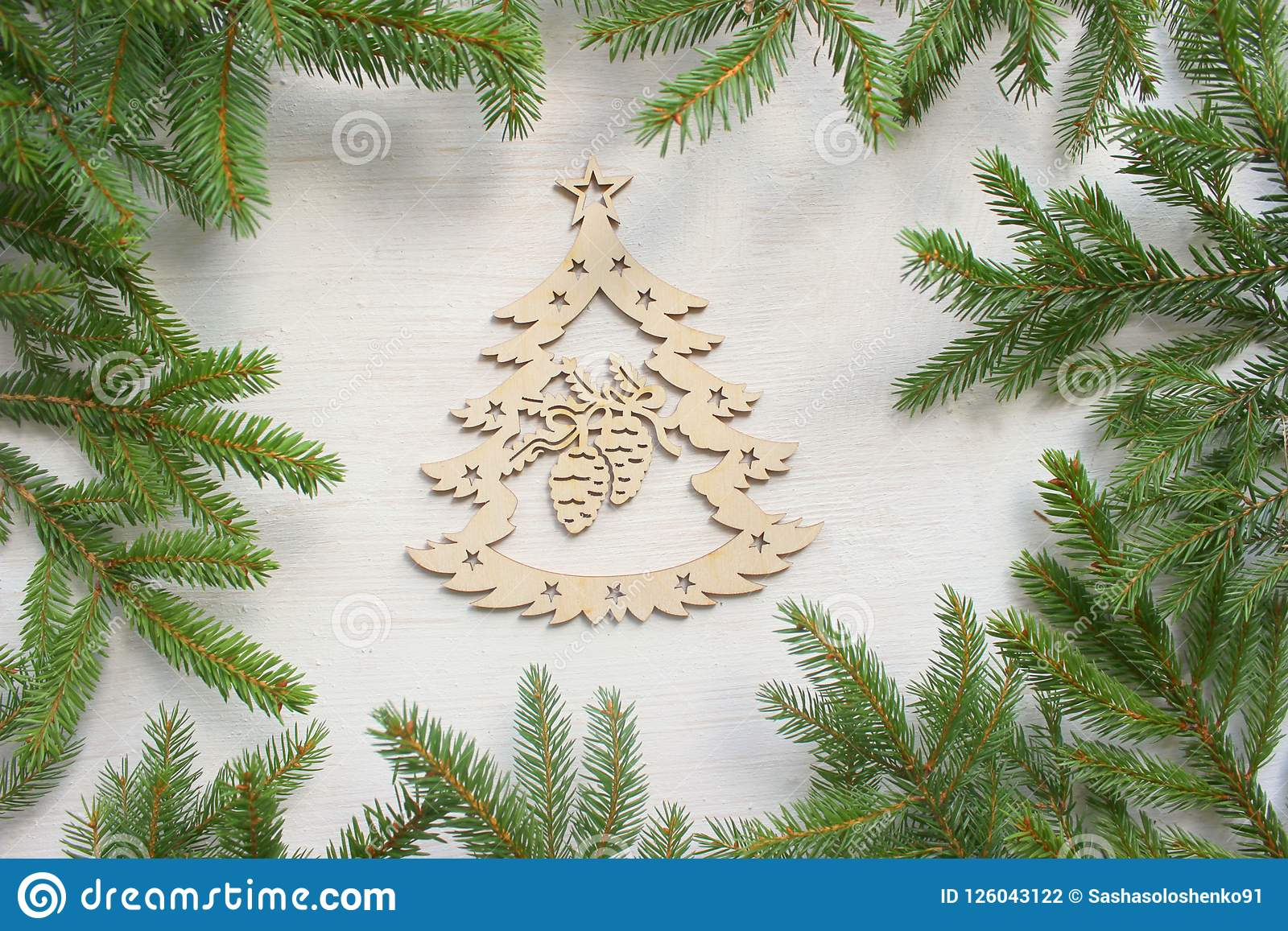 Christmas Background Green Frame Of Branches Of Christmas Tree On White Wooden Background Wooden Christmas Tree Handmade Christ Stock Photo Image Of Numbers Membership 126043122