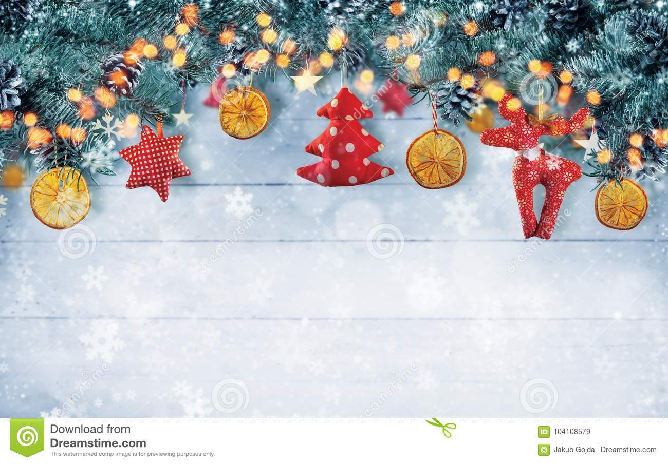 Christmas Background Free.Christmas Background With Hand Made Cloth Decorations Stock