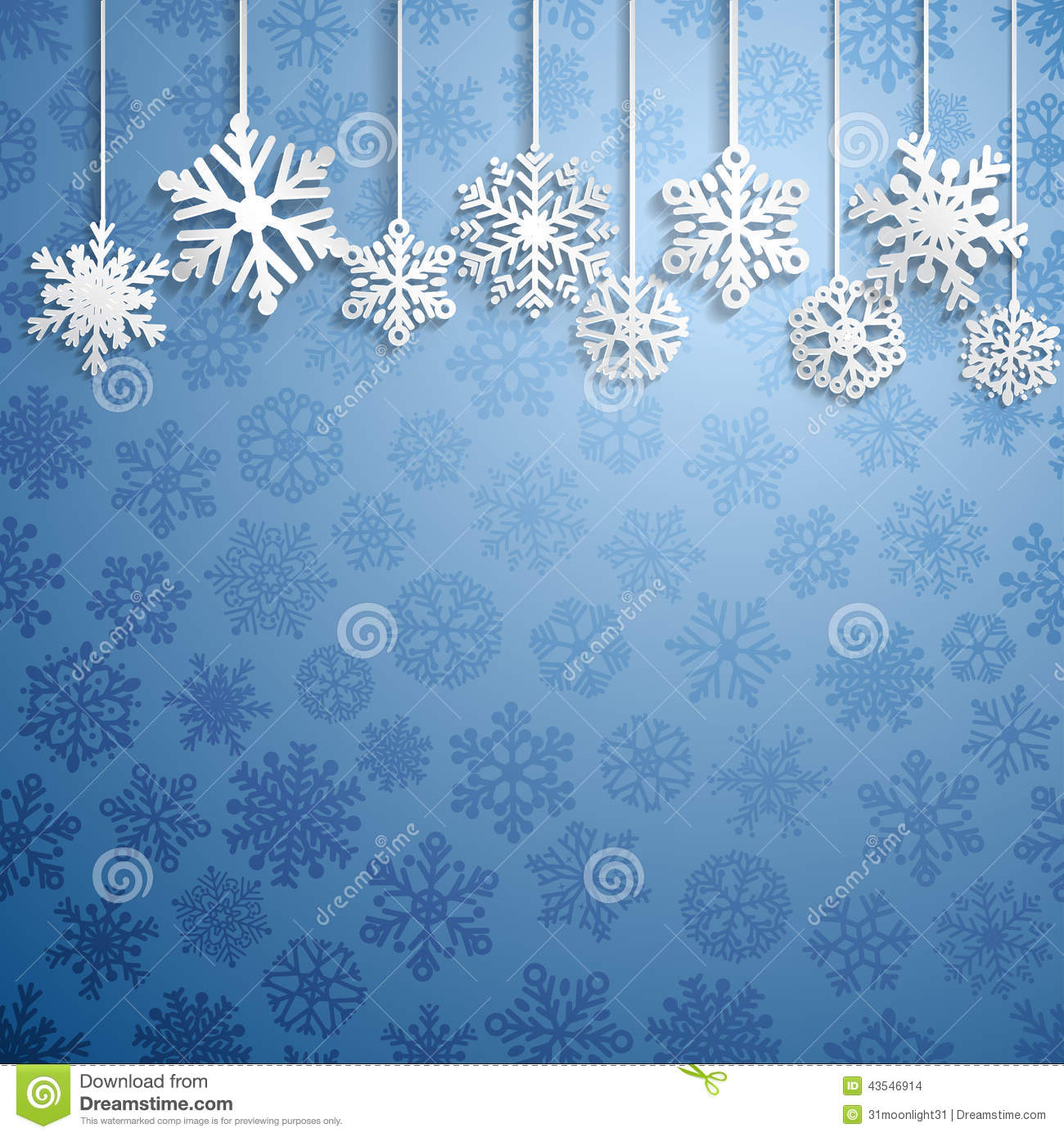 christmas background with hanging snowflakes stock vector
