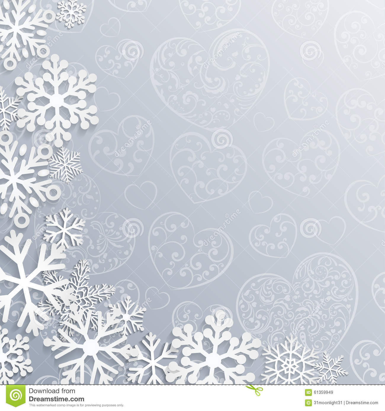 Christmas background with hearts and snowflakes stock