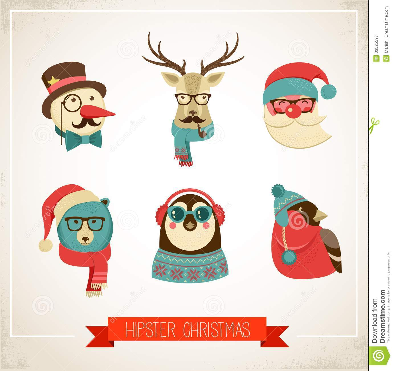 Hipster Greeting Cards Merry Christmas Stock Vector - Illustration ...