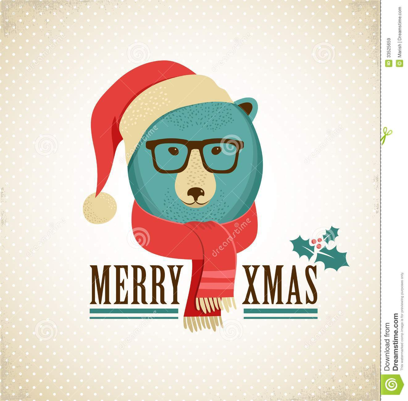 Christmas Background With Hipster Bear Stock Vector - Illustration ...