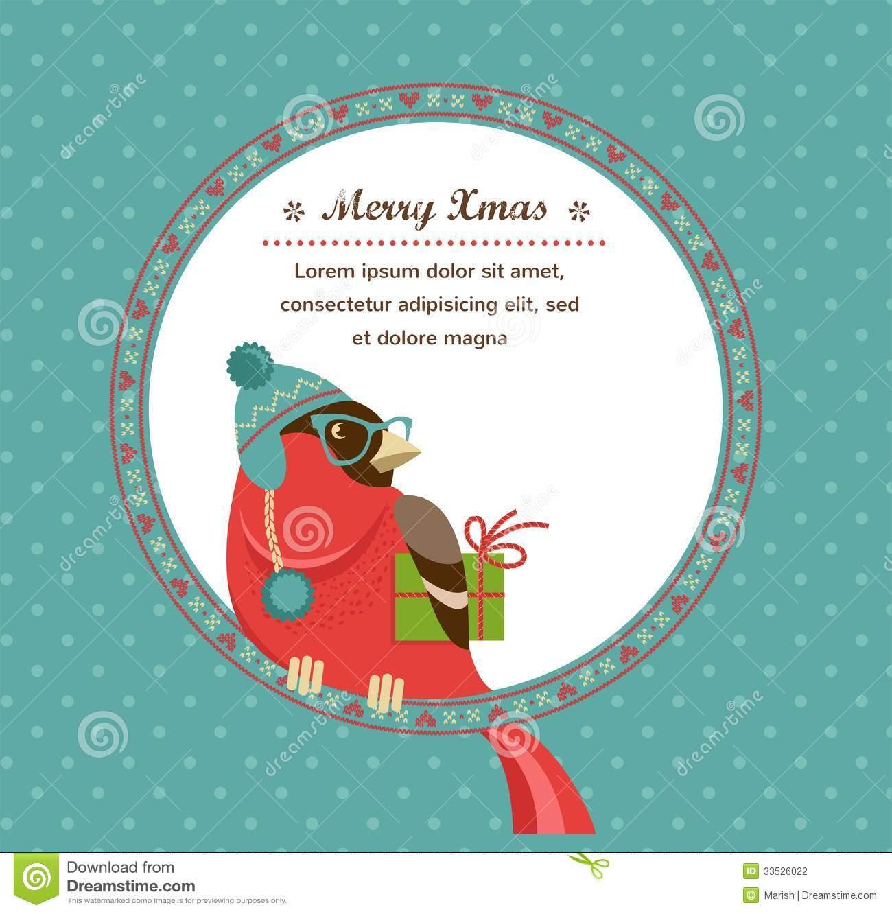 Christmas Background With Hipster Bullfinch Stock Vector ...