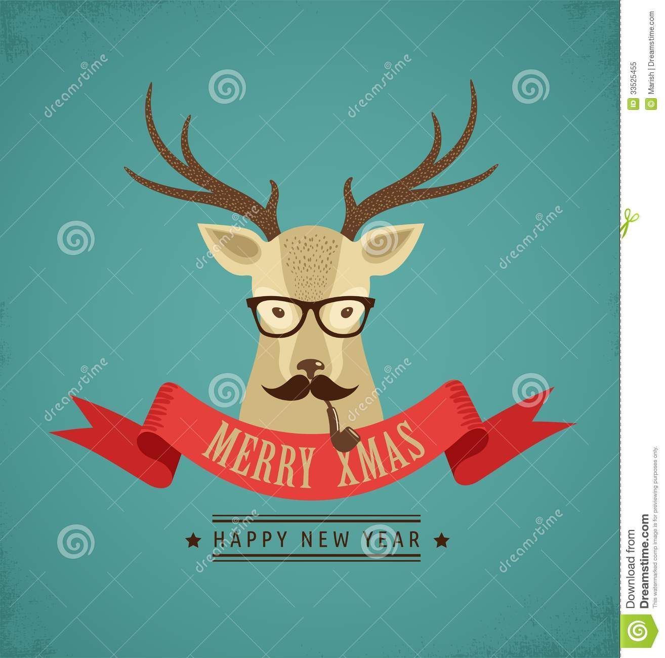 Christmas Background With Hipster Deer And Ribbon Stock Vector ...