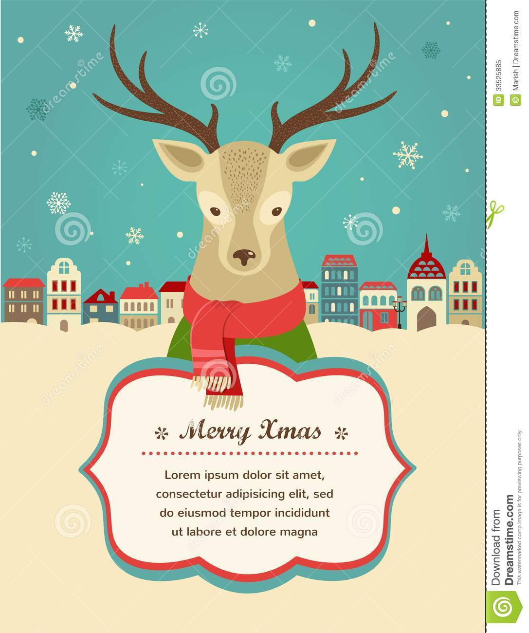 christmas background with hipster deer and ribbon royalty