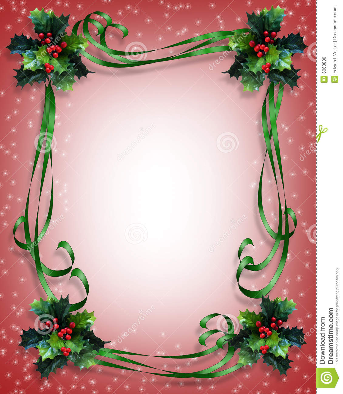 Christmas Background Holly Border Stock Photo - Image: 6060800