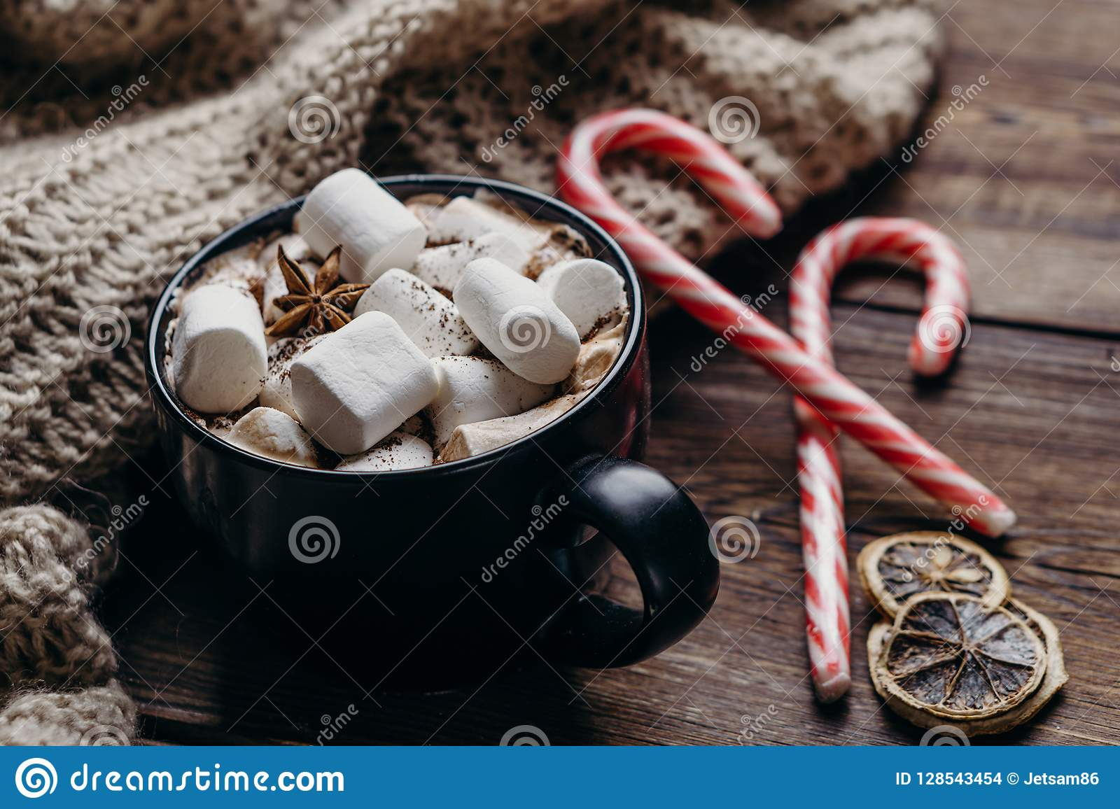 Christmas background with hot chocolate and sweets