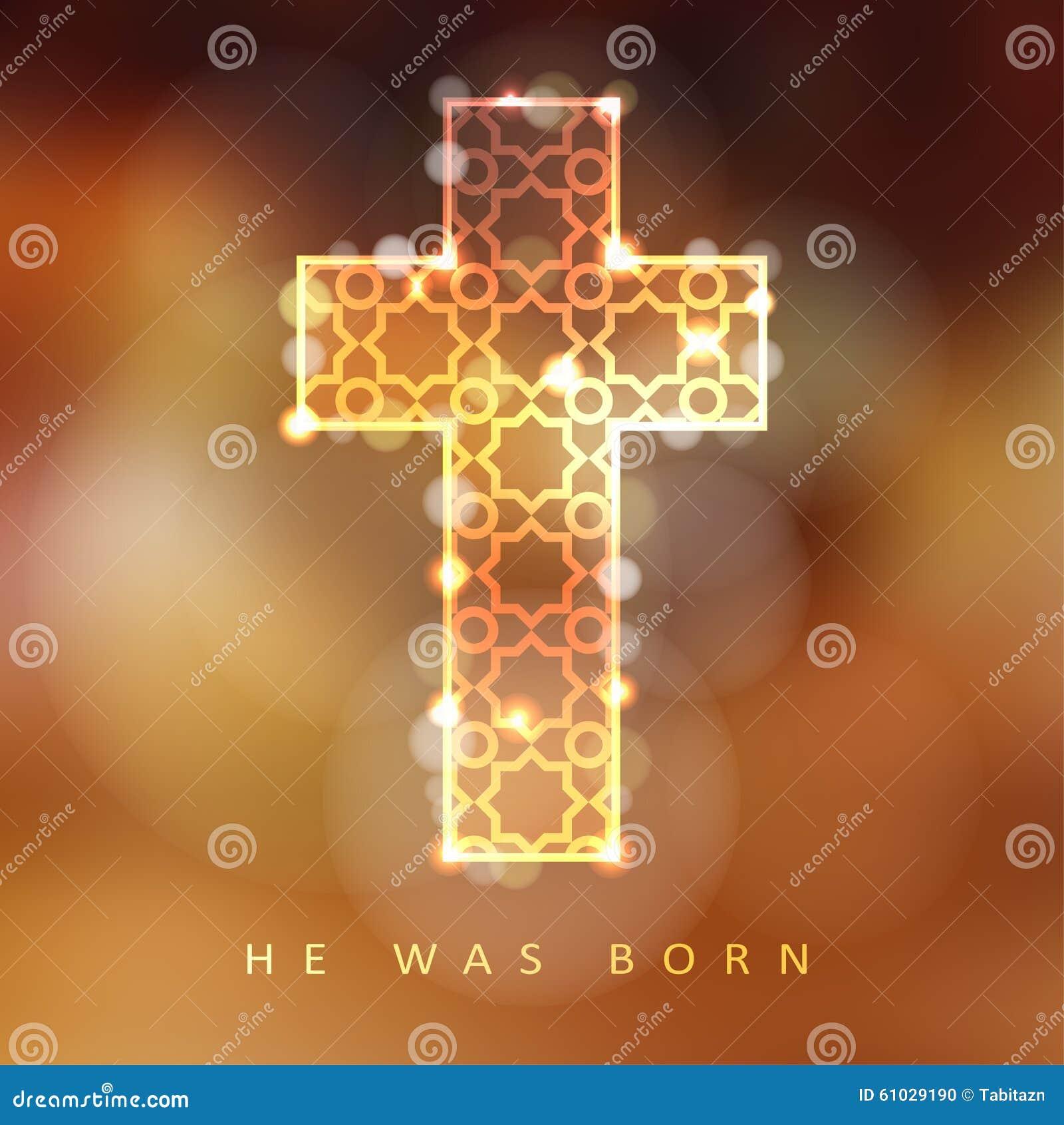 Christmas Background Christian.Christmas Background With Illuminated Ornamental Cross
