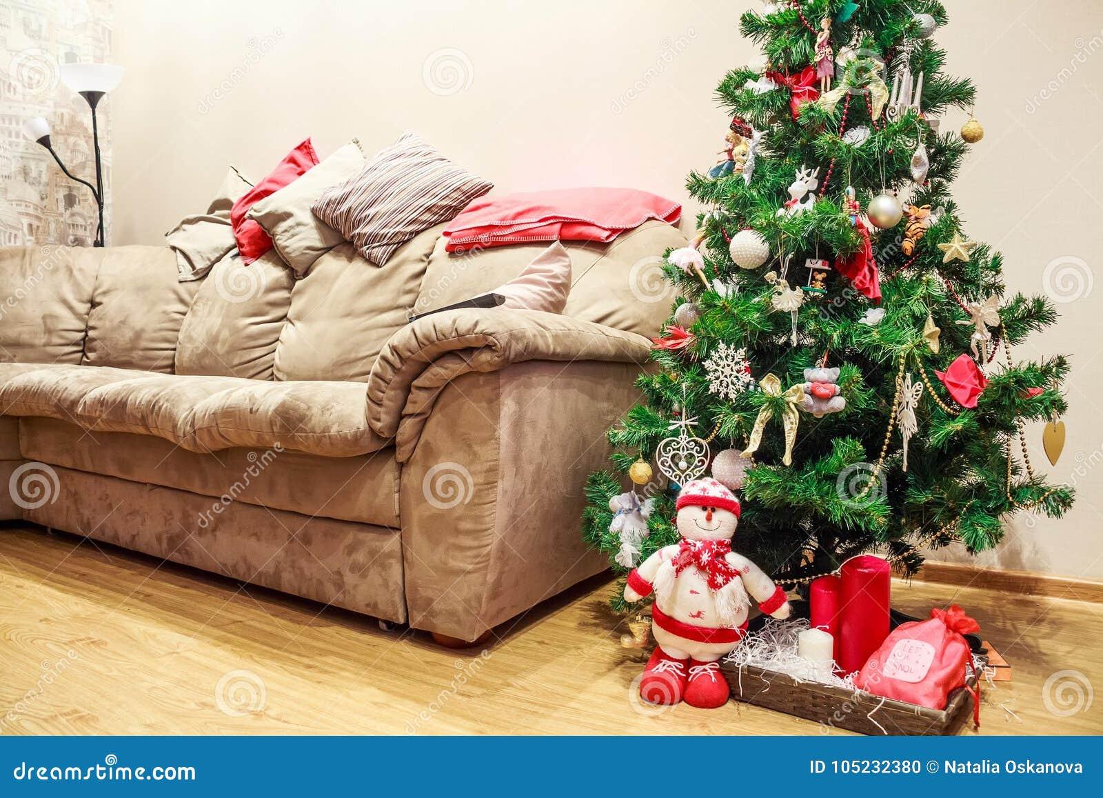 Festive Holiday Interior, Christmas Tree And Sofa Stock