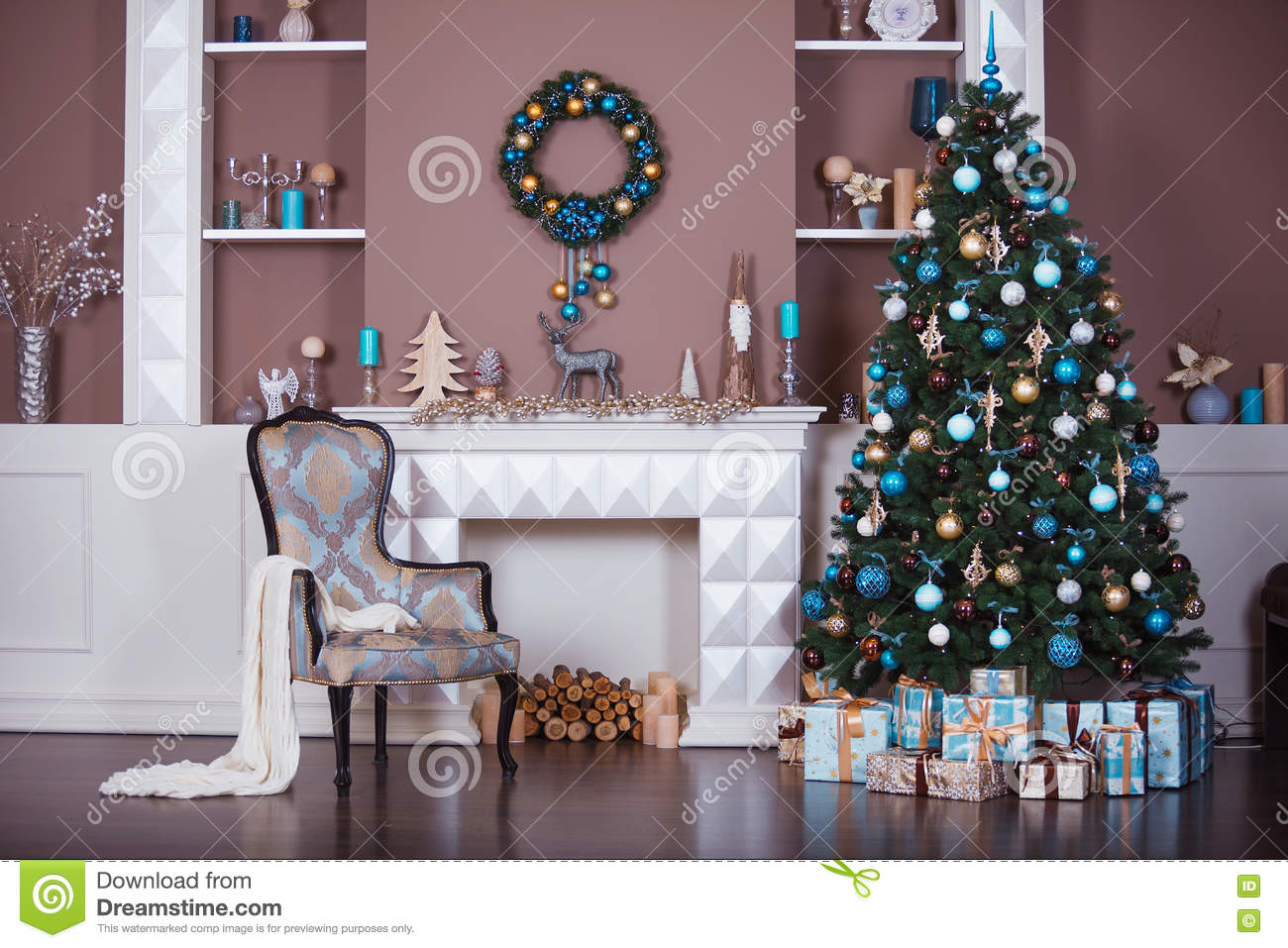 christmas background interior room decorated in xmas style no people new year tree