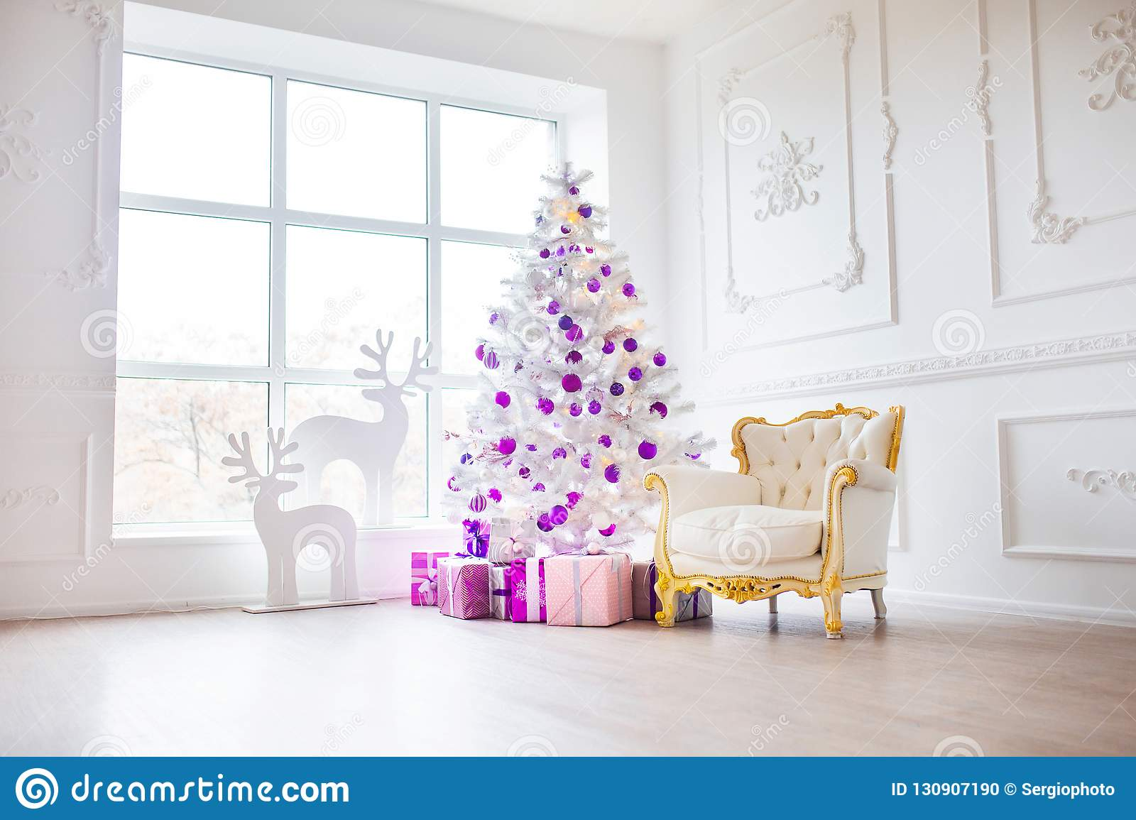 Christmas Background. Interior Room Decorated In Xmas Style. No ...