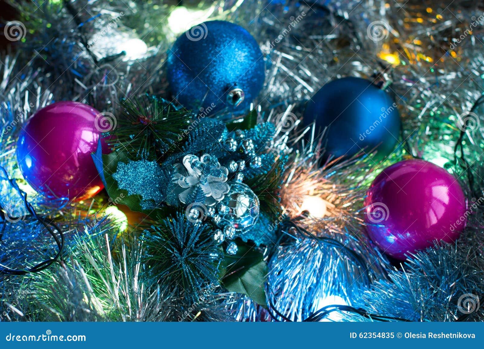 Christmas Background With Lights, Tinsel, And Christmas Balls Stock ...