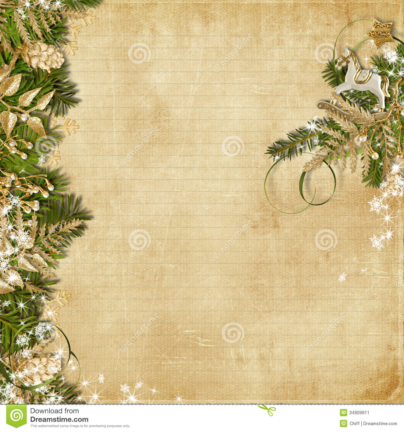 Christmas background with miraculous garland stock image
