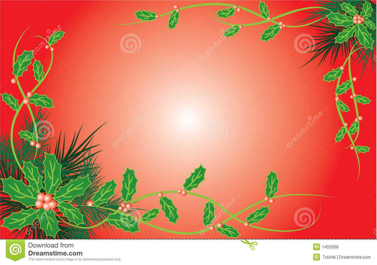 Red gift bows border with clipping path for easy background removing - Christmas Background With Mistletoe And A Fur Tree Vector Royalty Free Stock Photos