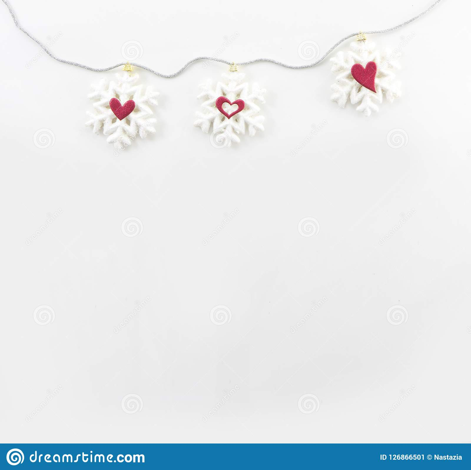 SNOW FLAKES & HEARTS, CHRISTMAS BACKGROUND