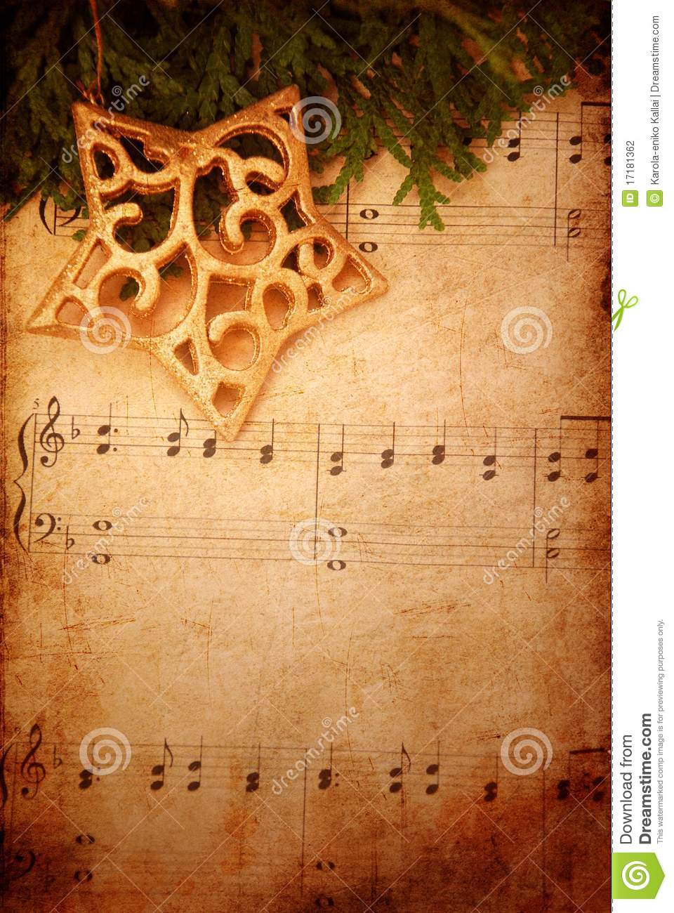 Christmas Background With Old Sheet Music Stock Photo - Image of ...