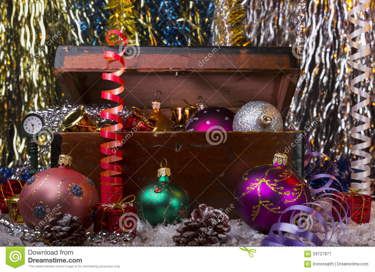 Christmas background with old wooden box and the