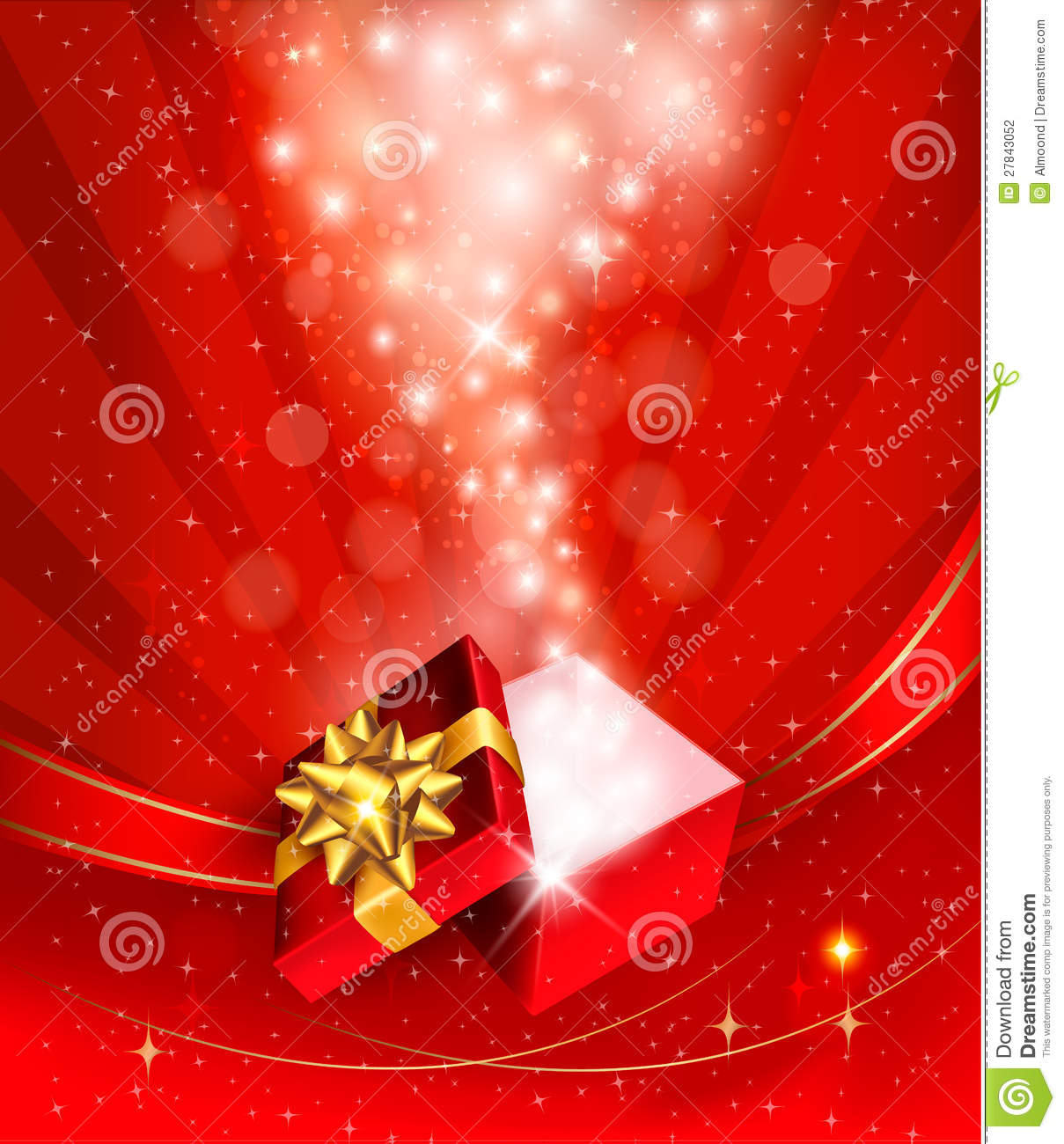 christmas background with open gift box stock vector